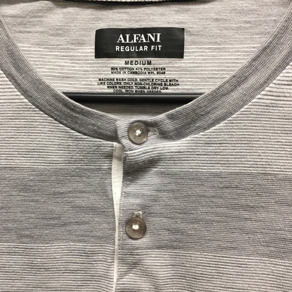 Alfani Mens Striped Slub Cotton-Blend Long-Sleeve Henley